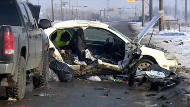 A 20-year-old woman passenger died in a crash between a car and a pick-up truck at 17th Street south of Petroleum Way in Strathcona County.