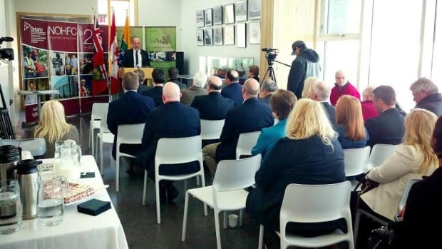 Mayor Keith Hobbs took part in an event centre funding announcement on Thursday in Thunder Bay. Money from the Northern Ontario Heritage Fund and FedNor will go toward designing the centre, as well things like parking and traffic studies and creating a final business plan.