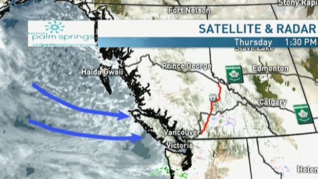 Winds are coming in to British Columbia from the west