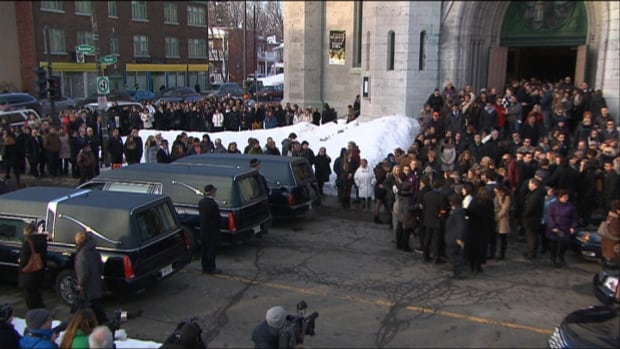 One funeral is held Thursday in Trois-Rivières for the three young victims in last week's triple homicide.