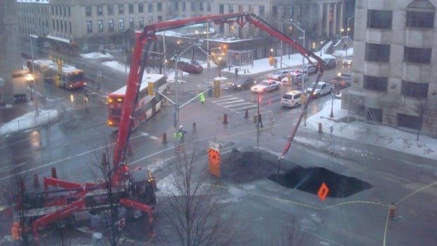 The 8-metre-wide hole formed where LRT tunnel construction was happening under Waller Street.
