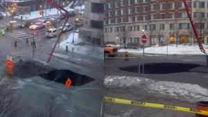 Waller Street sinkhole (Feb. 21, 2014)
