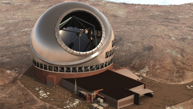 An artist's rendition shows the planned Thirty Meter Telescope, which will be the world's largest — though not for long — when it's finished at the summit of Mauna Kea volcano in Hawaii.