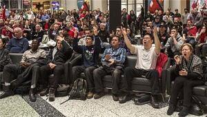 Hockey fans atrium