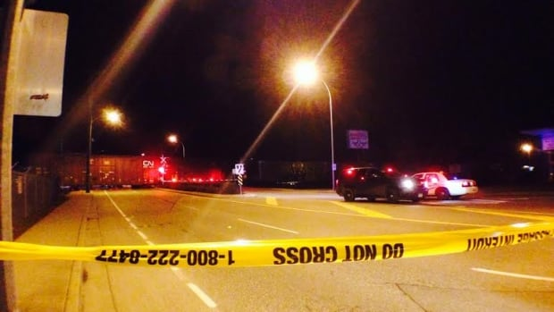 Young Road at Trethewey Avenue in Chilliwack was closed after a man was hit and killed by a train Friday night, Feb. 21, 2014.