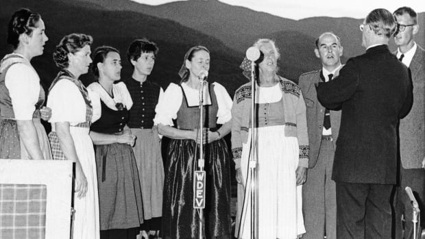 This photo from 1966 shows members of the Von Trapp family as they gave a public concert at the family lodge in Stowe, Vermont. Maria von Trapp, centre, the last surviving member of the famous Trapp Family Singers made famous in The Sound of Music died this week at her home in Vermont. (Associated Press)