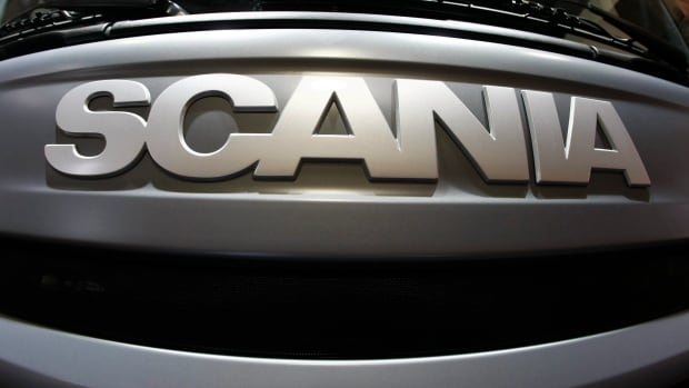 A Scania logo is shown on a truck at the IAA International Motor Show Commercial Vehicles in Hanover, northern Germany. Volkswagen AG has bid $10.2 billion for the rest of the Swedish company it doesn't own.