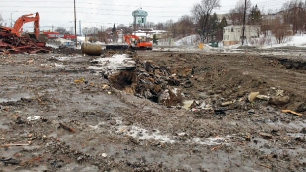 One reason why the former Kingsway hotel couldn't be sold was because of contamination from two former gas stations on the property. Now that the building is down, the removal of that contaminated soil is expected to begin shortly, and the city of Sudbury is hoping to sell the land for a profit.