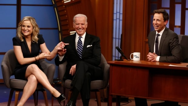 Actress Amy Poehler and U.S. Vice President Joe Biden were the first guests on Late Night with Seth Meyers.