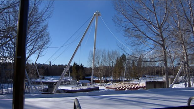 High winds irreparably damaged the new $400,000 canopy of the Heritage Amphitheatre last month.