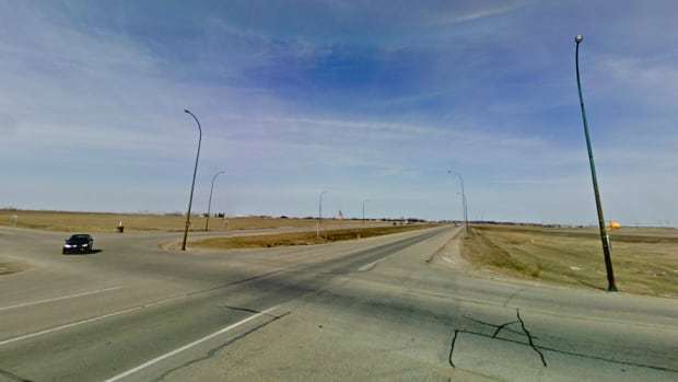 The intersection of Highway 11 and Wanuskewin Road.