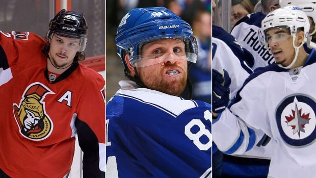 From left, Senators defenceman Erik Karlsson, Maple Leafs right-winger Phil Kessel and Jets left-winger Evander Kane are gearing up for the final six weeks of the regular season following the NHL's 18-day shutdown for the Sochi Olympics.