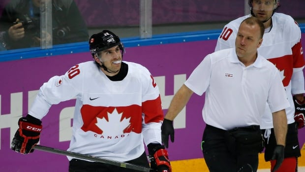 John Tavares skates off the ice in the Feb. 19 game for Canada, which will be his last until the 2014 season begins.