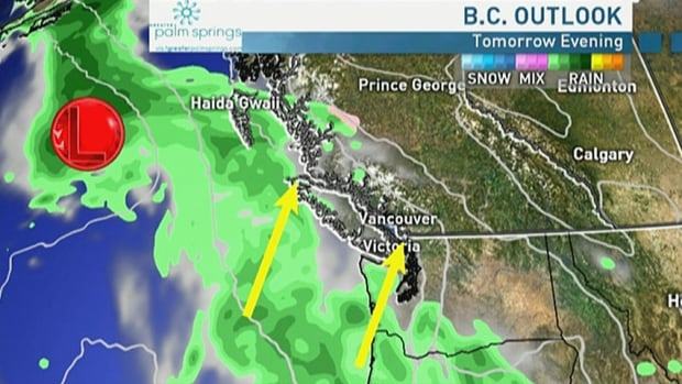 Widespread showers expected inland B.C. on Wednesday