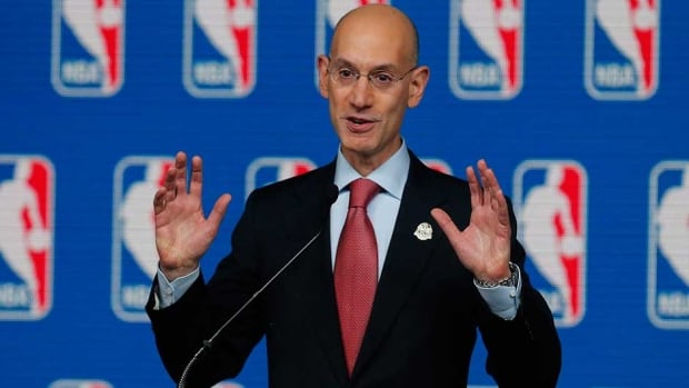 NBA Commissioner Adam Silver speaks at a news conference before the All-Star Game earlier this month.