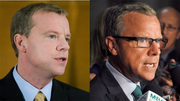 Saskatchewan Party Leader Brad Wall, on the left, from Nov. 8, 2007, the day after his party won the provincial election and, on the right, speaking to reporters in Regina Sept. 9, 2013.