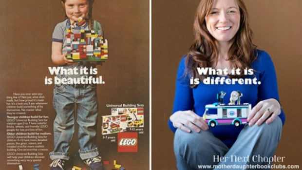 Rachel Giordano was featured in a 1981 LEGO advertisement (left) selling the Universal Building Set. Thirty-three years later, educational psychologist Lori Day sent Giordano another set of LEGO and asked her to pose for another picture (right).