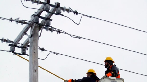 Newfoundland Power crews worked overnight  on Friday to restore power and clear Pitts Memorial Drive.