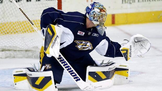 Nashville Predators goalie Pekka Rinne, seen in training camp, last played in the NHL on Oct. 22.