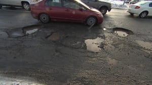 Potholes on Westerland Road Feb. 26, 2014