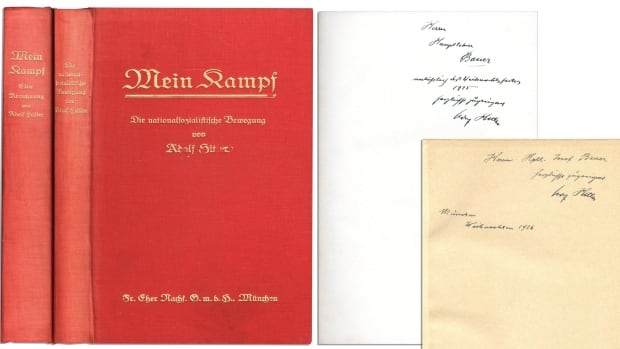 The signed two-volume set of Mein Kampf, the manifesto of the future Fuhrer, will be auctioned by Nate D. Sanders on Thursday, Feb. 27, 2014. Both volumes are signed by Adolph Hitler and are dedicated to Josef Bauer, one of the first members of the Nazi party and one of the leaders of the Beer Hall Putsch in 1923.