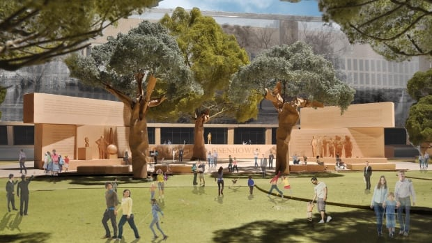 This model image, provided by the Eisenhower Memorial Commission, shows the proposed Dwight D. Eisenhower Memorial to be built in Washington. Designers from architect Frank Gehry's firm unveiled some changes to a planned memorial honouring Eisenhower after hearing complaints from members of Eisenhower's family.