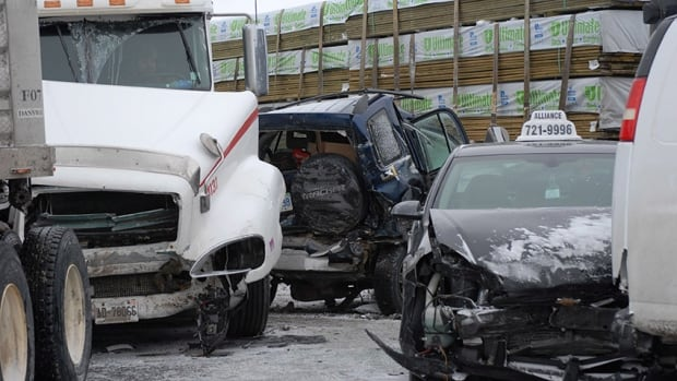 Thursday's pileup involved 96 vehicles and closed Highway 400 just south of Barrie, Ont., from 9 a.m. to 6 p.m.