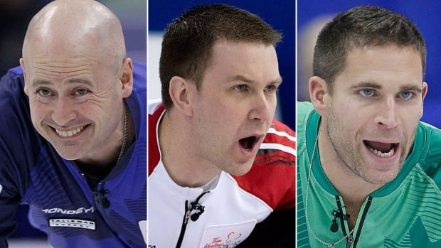 From left, skips Kevin Koe (Alberta), Brad Gushue (Newfoundland & Labrador) and John Morris (British Columbia) will compete in a more wide-open field at the Canadian men's curling championship in Kamloops, B.C., with defending champion Brad Jacobs and other favourites Glenn Howard and Kevin Martin absent.
