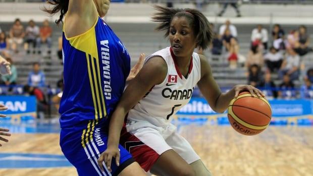 Canada's Justine Colley, right, drives the ball past Colombia's Katherine Quimbaya during a women's basketball game at the Pan American Games in Guadalajara, Mexico, Oct. 22, 2011.
