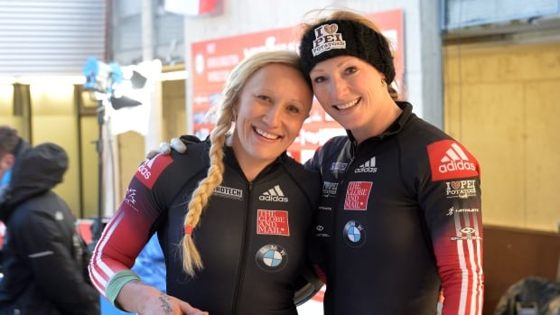 Canada's Kaillie Humphries, left, seen with brakewoman Heather Moyse, plans to propose the idea of 4-man bobsled to the international governing body this summer.