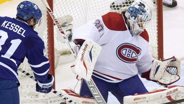Peter Budaj, right, will start in goal over Carey Price for a third consecutive game on Saturday against Phil Kessel and the Maple Leafs. Price is recovering from a suspected groin injury, so Budaj was in goal for Montreal's 2-1 OT loss to Detroit on Wednesday and Thursday's 6-5 shootout win in Pittsburgh.