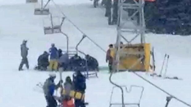IPhone video capture taken just moments after a swinging chair hit a ski lift tower causing the entire line to come down at the Crystal Mountain Ski Resort near Kelowna B.C.  Two people were critically injured. Two others sustained minor injuries.