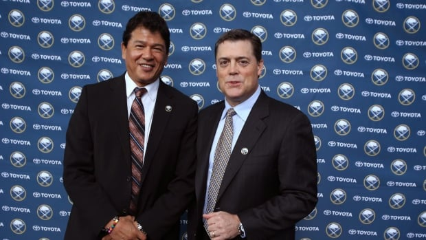 Pat LaFontain, pictured here with coach Ted Nolan, has resigned from his position as President of Hockey Operations with the Buffalo Sabres.