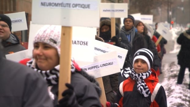 Montrealers marched Saturday to raise awareness about rare diseases, which affect more than 500,000 people in Quebec.