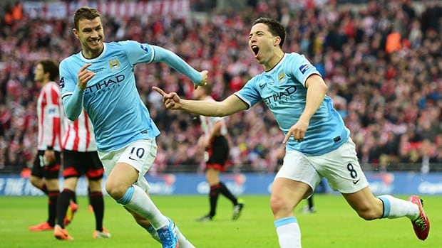 Samir Nasri of Manchester City celebrates his goal against Sunderland at Wembley Stadium on March 2, 2014 in London, England.