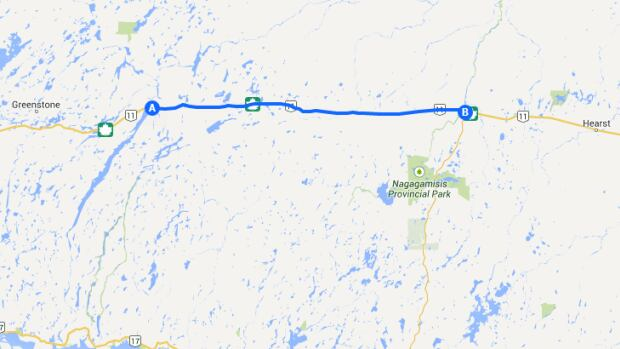 Highway 11 is closed between Longlac, Ont. and the intersection with Highway 631, a roughly 150-kilometre stretch.