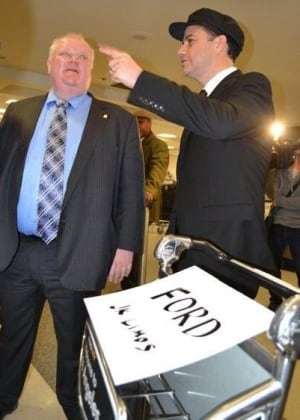 Jimmy Kimmel greets Mayor Rob Ford