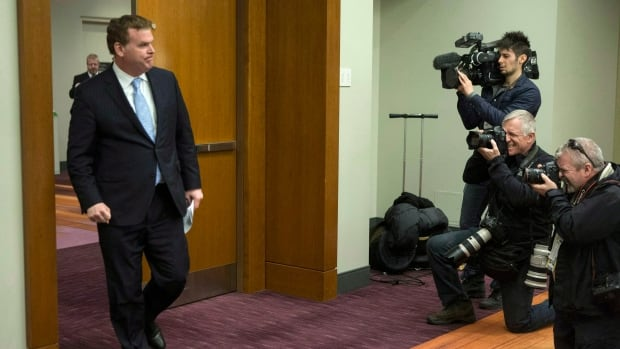 Foreign Affairs Minister John Baird arrives to brief the media on the latest developments in Ukraine in Toronto on Sunday.