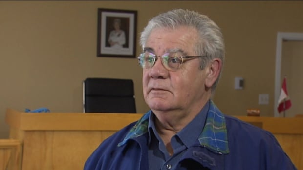 Joe Hawes, the mayor of the Town of Pictou, speaks Monday about the impact of job cuts coming to the Michelin plant in nearby Granton.