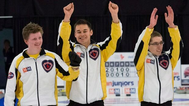 Canadian skip Braden Calvert of Manitoba and his teammates, from left, Kyle Kurz, Lucas Van Den Bosch and Brendan Wilson, not pictured, fell 4-3 in an extra to Switzerland in Tuesday's Page 3-4 playoff at the world junior curling championship in Flims, Switzerland.