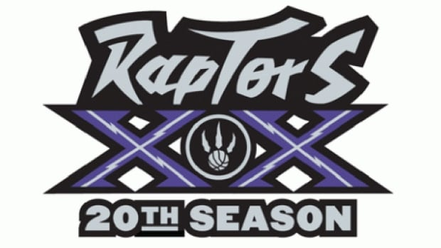 The Raptors' 20th anniversary logo for next season features two bold purple Xs around the traditional Raptors claw. Purple was the team's primary colour for its first 11 campaigns in the NBA.
