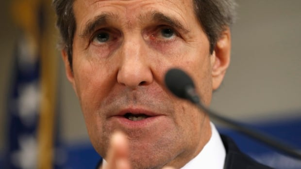 Secretary of State John Kerry speaks during a news conference at the U.S. Embassy in Kiev, Ukraine on Tuesday. The U.S. has a package of $1 billion in loan guarantees for Ukraine.