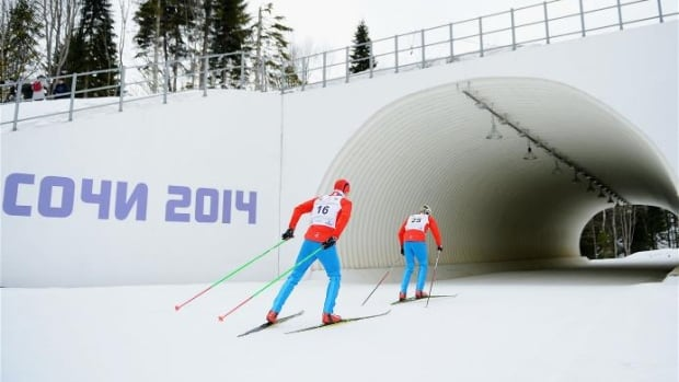 Russian Paralympians practice at the Laura Cross-Country Ski & Biathlon Centre in Sochi, Russia.