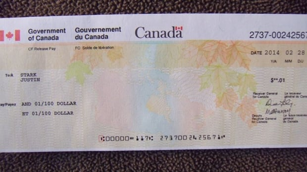 This one-cent cheque, dated Feb. 28, was sent to the home of Cpl. Justin Stark. The 22-year-old committed suicide in 2011 in Hamilton.