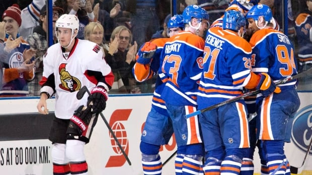 Ales Hemsky (83) scored twice to beat the lacklustre Ottawa Senators on Tuesday. One day later, the Senators acquired him before the trade deadline.