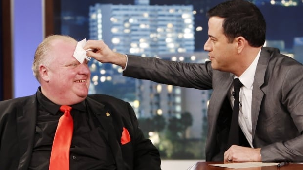 Toronto Mayor Rob Ford, left, was a guest on Jimmy Kimmel Live hosted by Jimmy Kimmel, right, in Los Angeles on Monday night.