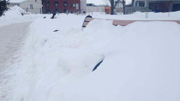 A park bench sits buried in snow in Winnipeg, with more on the way.
