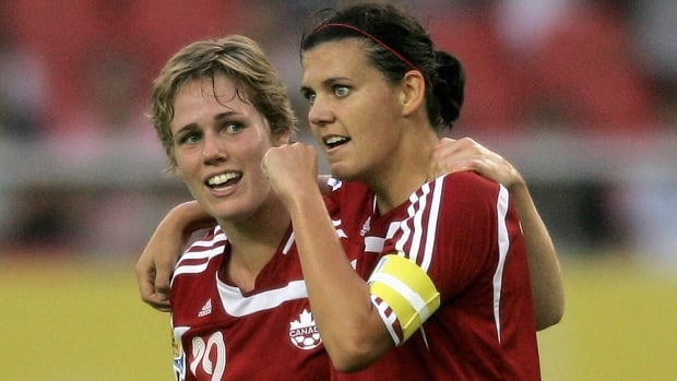 Sophie Schmidt, left, and Christine Sinclair, shown in this file photo, helped Canada past Finland at the opneing match of the Cyprus Cup on Wednesday.