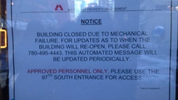 This sign was posted on the doors of Canada Place on Wednesday morning.