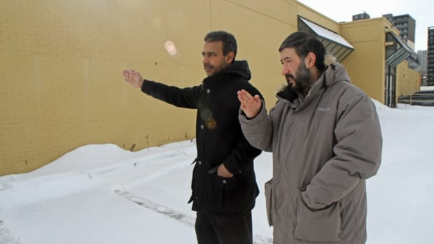 Hamilton Downtown Mosque board director Wahed Al Jabry, left, and Imam Sayed Tora stood in front of the new building in 2014. They were discussing where in the mosque they'll erect a mirhab, a structure that points Muslim faithful in the direction of Mecca while they perform prayers.